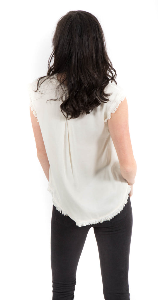 Short Sleeve Fray Top Vintage White