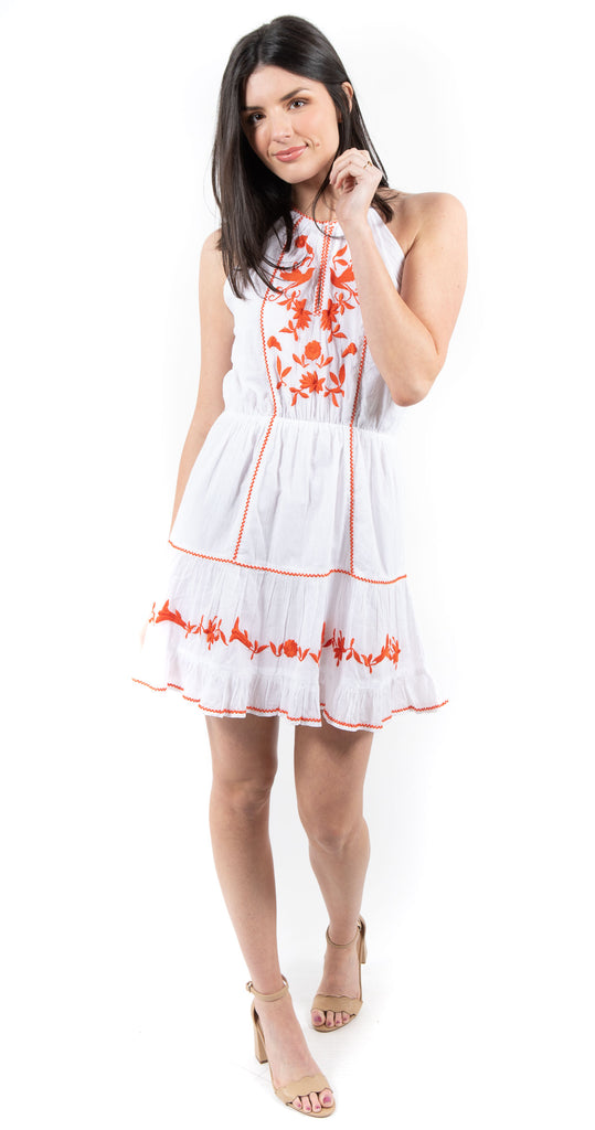 Embroidered Dress White/Tangerine