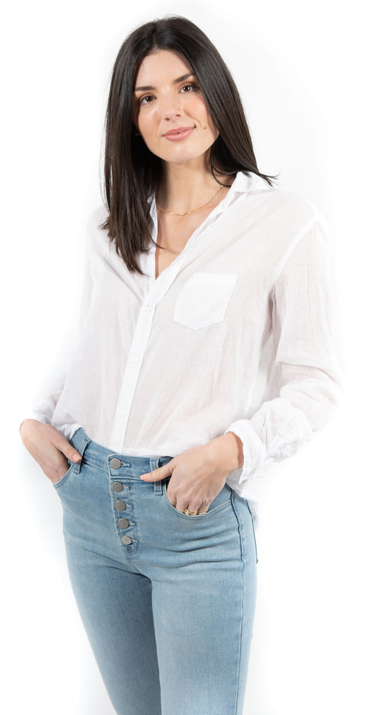 Eileen  Long Sleeve Button Down White