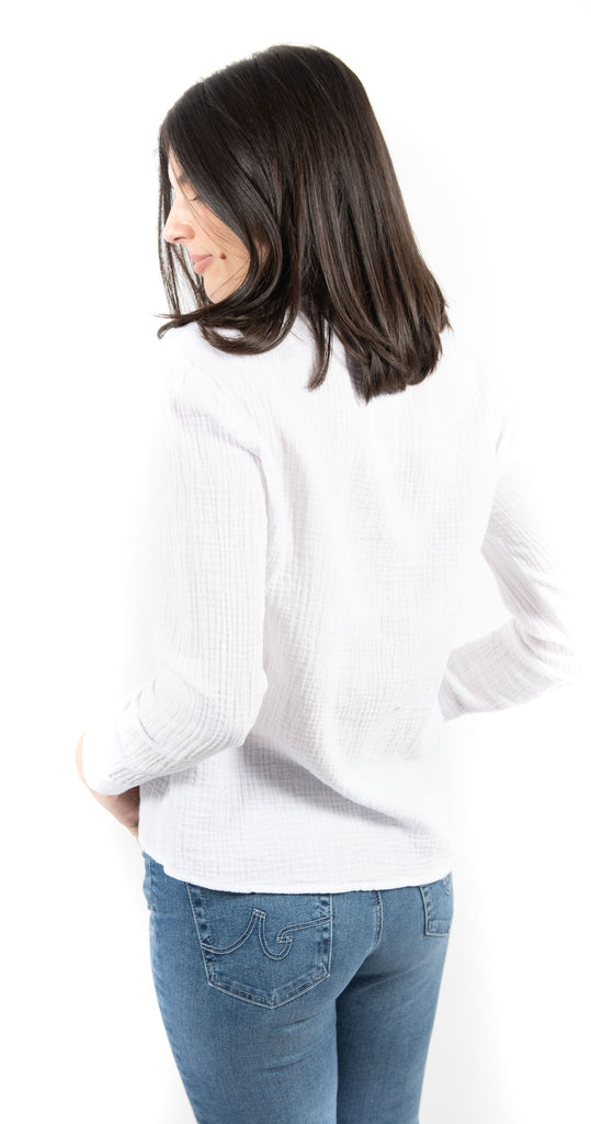 Long Sleeve Button Down Tie Front Top White
