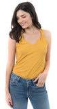 Twist Strap V-neck Linen Rayon Top Gold Sun