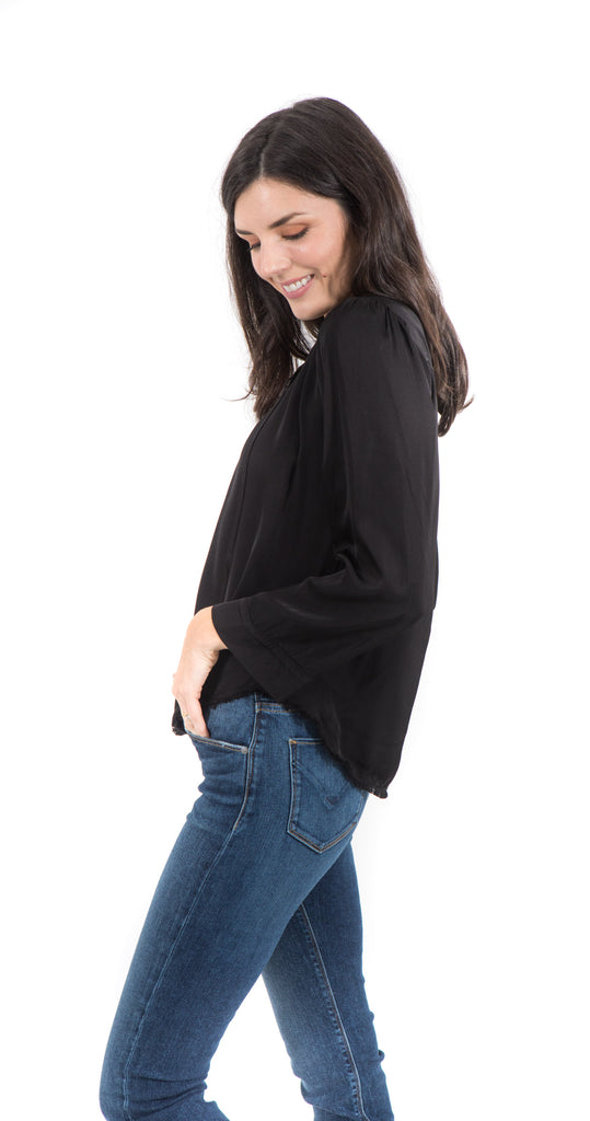Maura Relaxed Tie Top Black