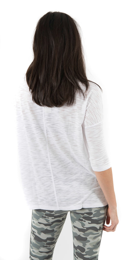 3/4 Sleeve V-Neck Top White