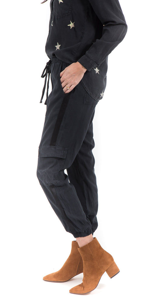Satin Trimmed Cargo Washed Black