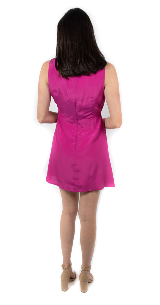Faux Wrap Dress w Tie Pink