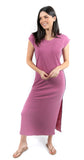 Maxi Dress with Side Trim Magenta