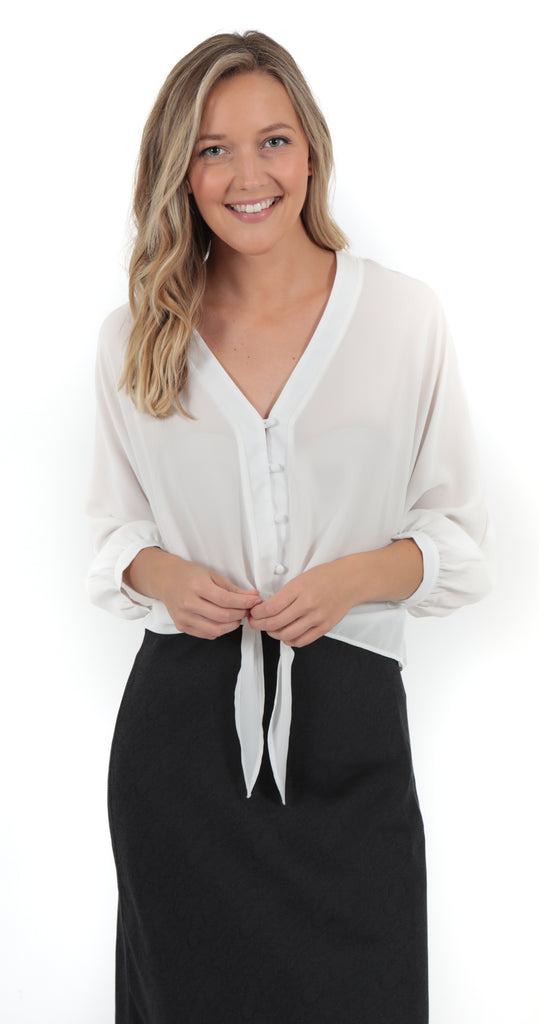 3/4 Sleeve Tie Button Up White