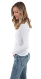 Long Sleeve Scoop Neck Tee White