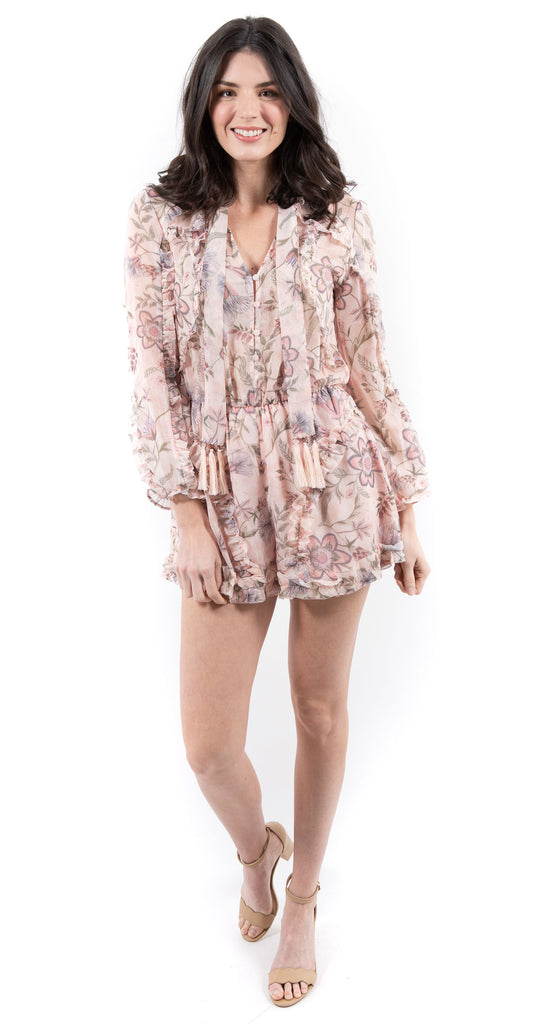 Long Sleeve Floral Tie Neck Romper Blush