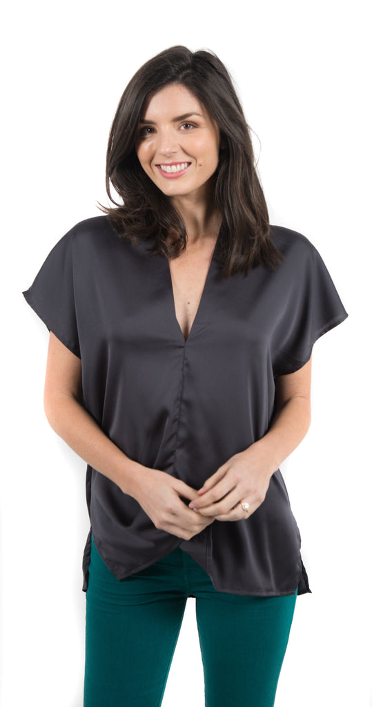 Solid Satin V-Neck Tunic Charcoal