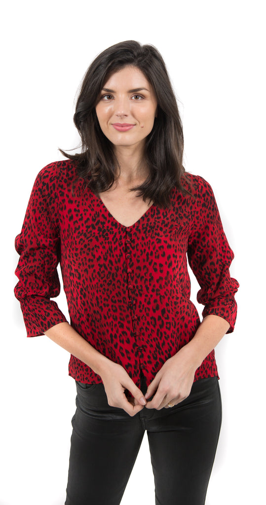 Farrah Smocked Sleeve Blouse Red Leopard