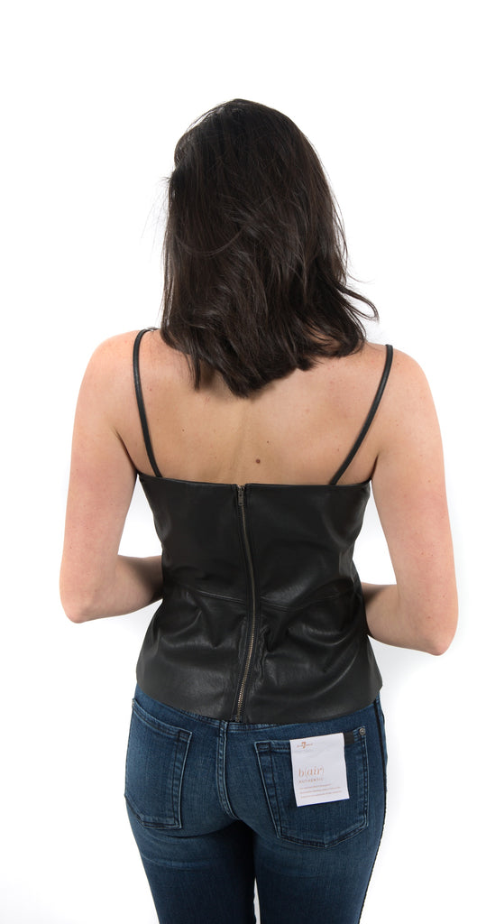 Vegan Leather Cami Zip Back Black