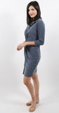 Button Down Twist Dress Navy