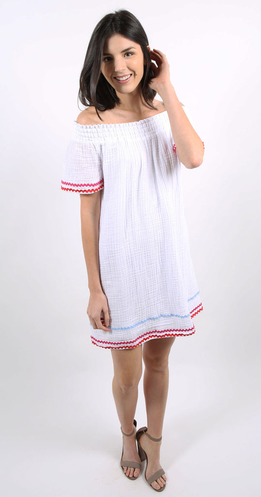 Off the Shoulder Coverup Dress White
