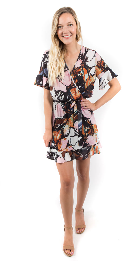 Lainey Wrap Ruffle Mini Dress Azalea