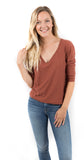 Talia Ultra Deep V Sweatshirt Cinnamon