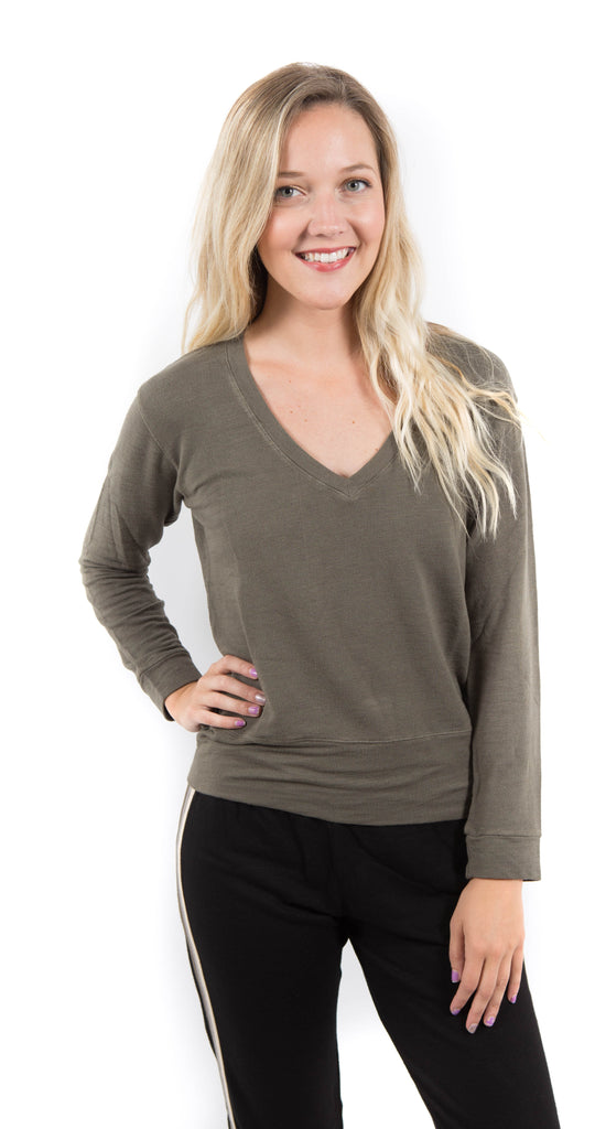 Long Sleeve V Neck Top Olive