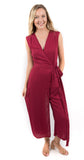 Sleeveless Wrap Jumpsuit Burgundy