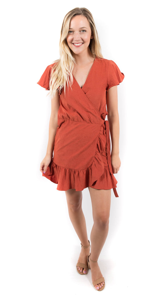 Crinkled Solid Ruffle Wrap Dress Rust
