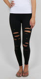High Waisted Ripped Warrior Legging Black