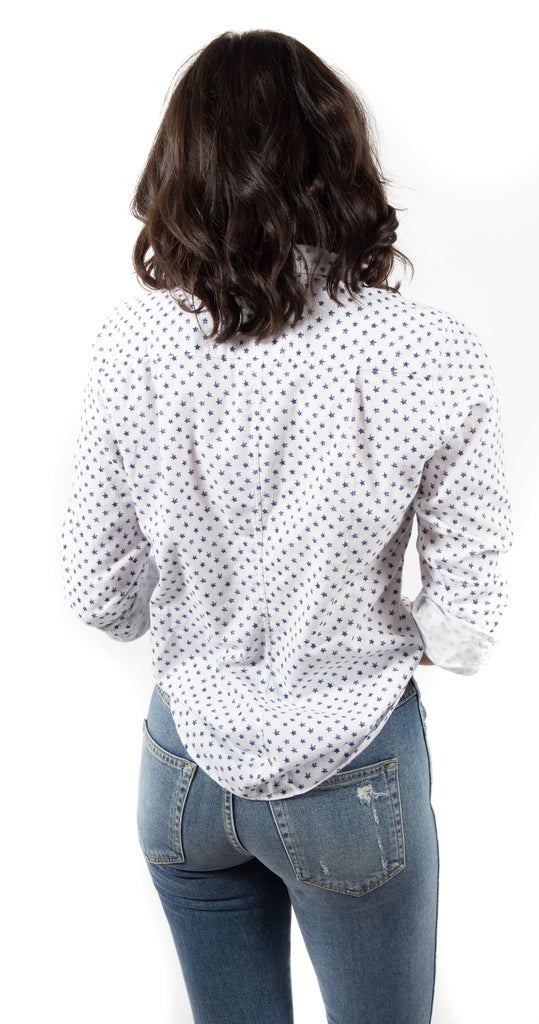 Women's Long Sleeve Button Down Flannel White with Navy Stars