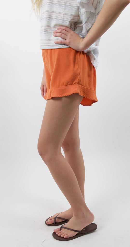 Ruffle Short Orange