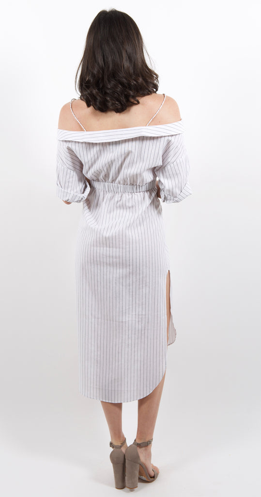 Genevieve Stripe Off Shoulder Dress