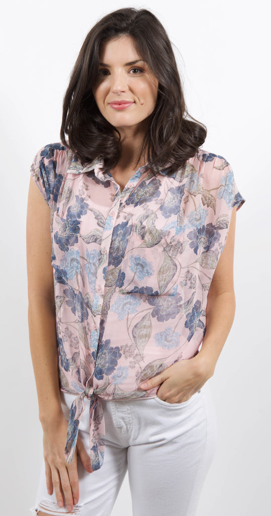 Tie Front Blouse Pink Floral