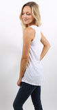 Side Tie Pocket Tank White