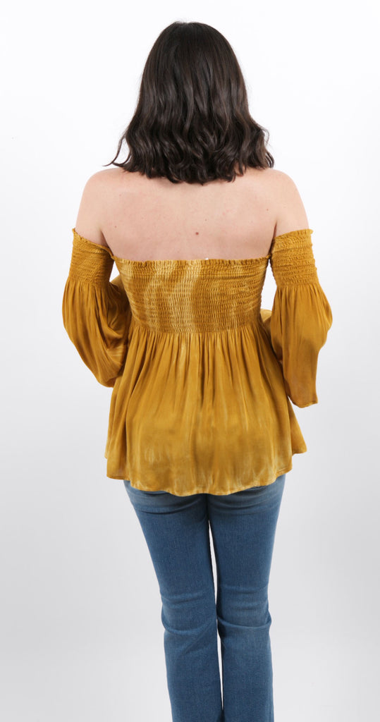 Off the Shoulder Smocking Top Golden Goddess
