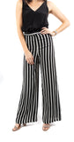 Wide Leg Dressy Pant Black White Stripe