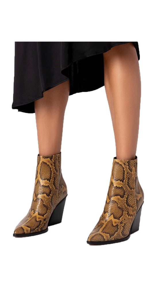 Issa Leather Boot Amber Snake Print