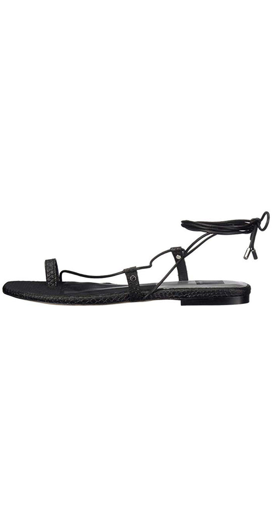 Dash Sliced Leather Sandal Black