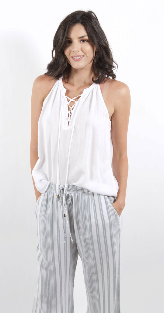 Lace Up Tank Top Optic White