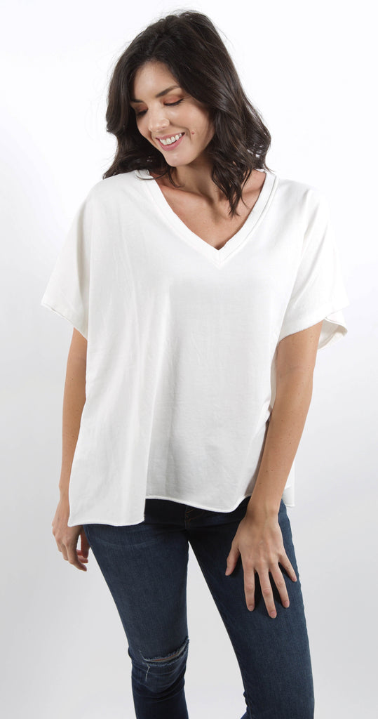 Becca V Neck Top Coconut Milk