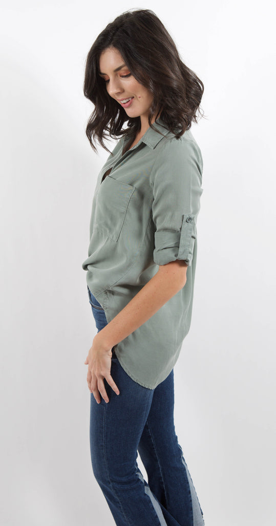 Long Sleeve Shirt Tail Button Down Dried Sage