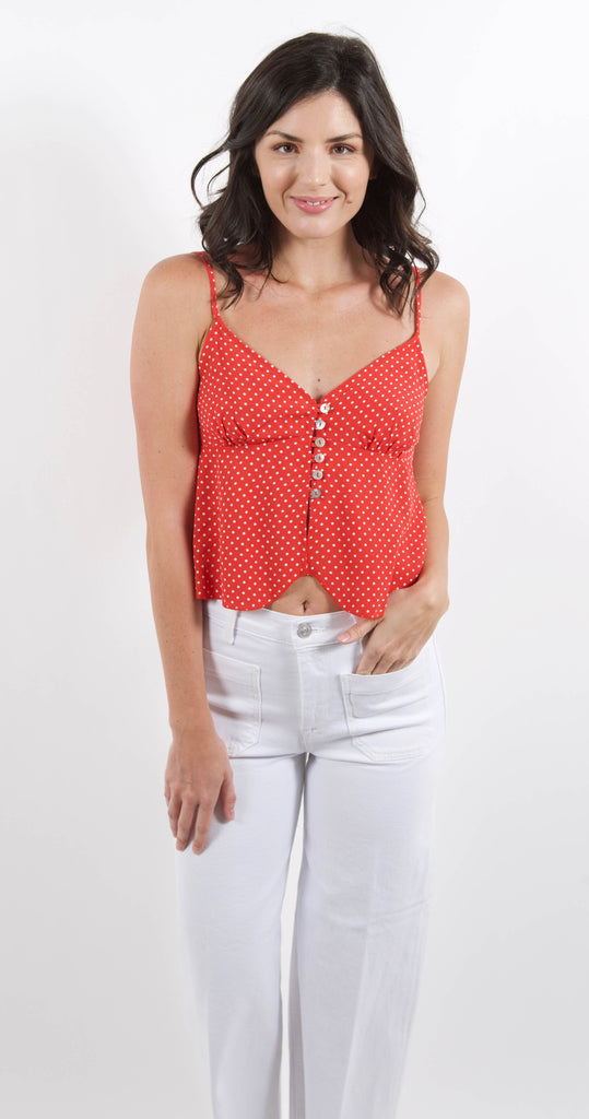 Bliss Button Front Cami Red