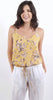 Floral Cropped Cami With Tie Mustard