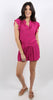 Solid Ruffle Sleeve Romper Hot Pink