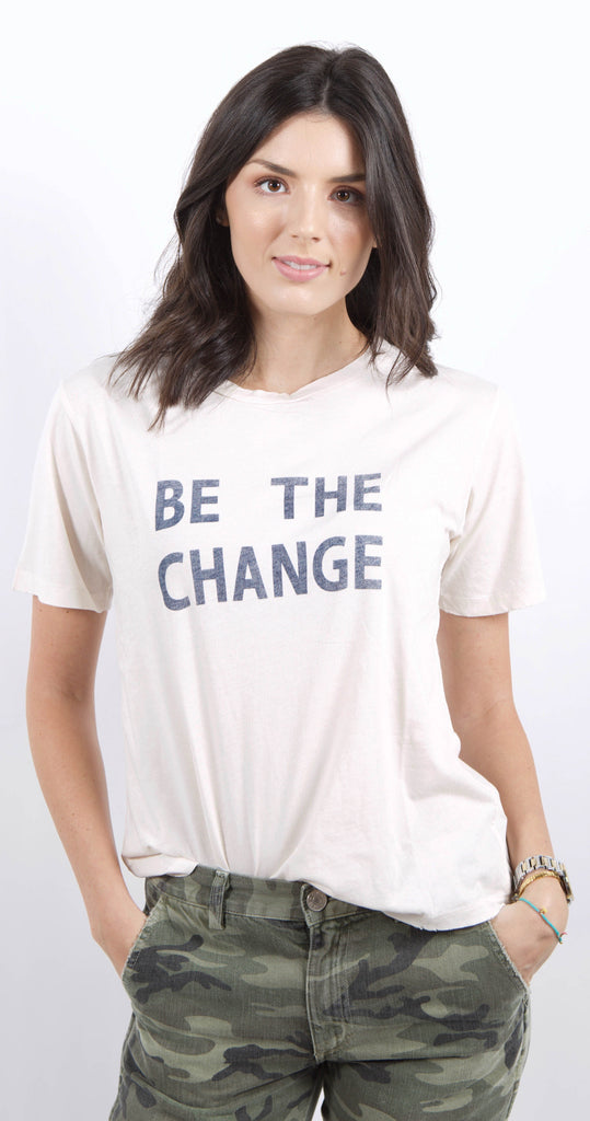 "Tomboy Tee ""Be The Change"" Off White"