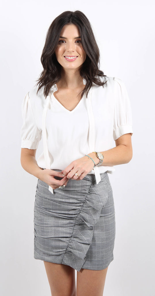 Ruffle Neck Short Sleeve Top Ivory