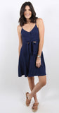 Tie Front Button Down Dress Navy