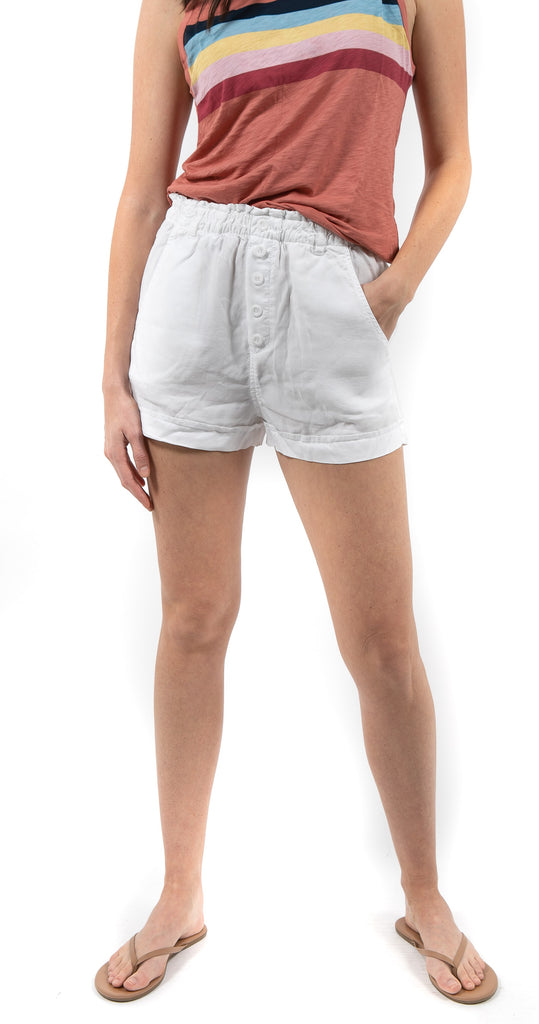 Button Front High Waisted Short White