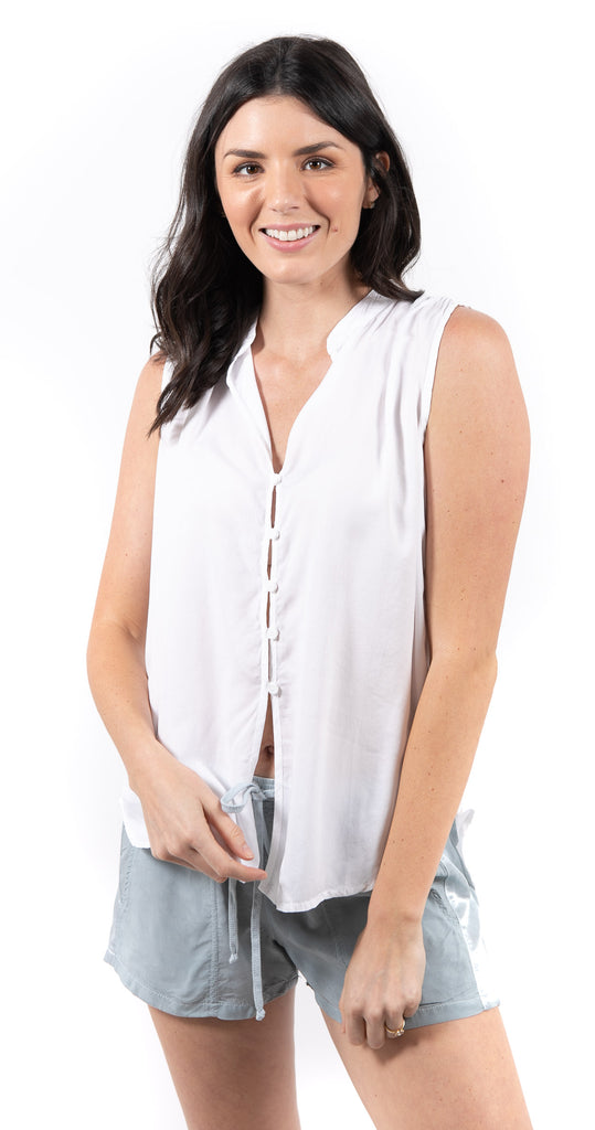 Shirred Blouse White