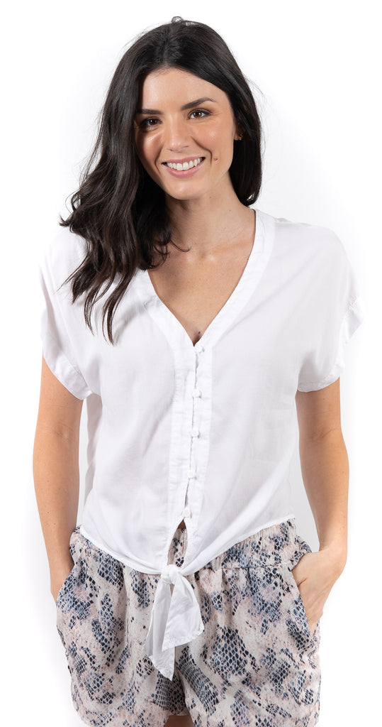 Short Sleeve V Neck Tie Up Blouse White