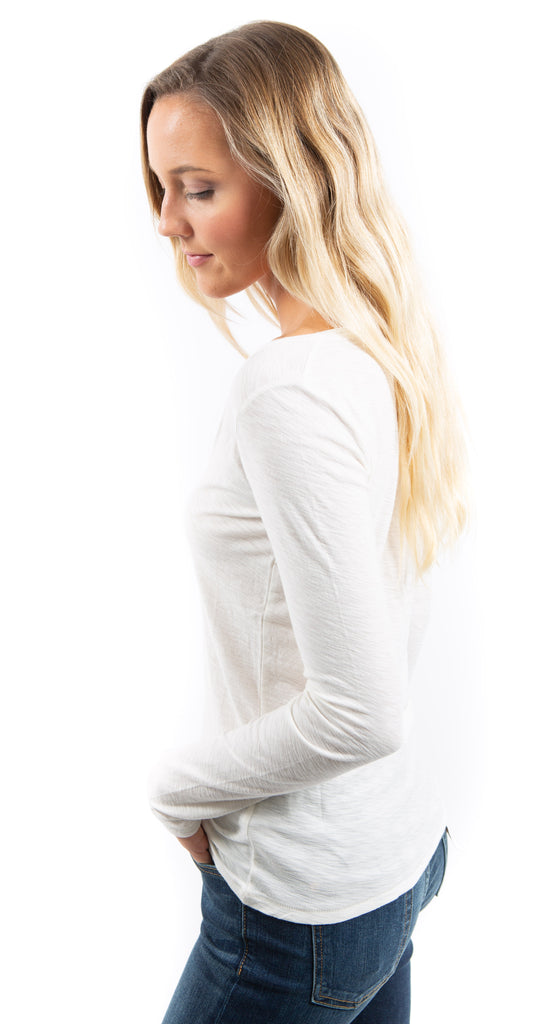Florence Sweetheart Long Sleeve Off White Top