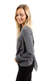 Tie Back Long Sleeve Top Charcoal