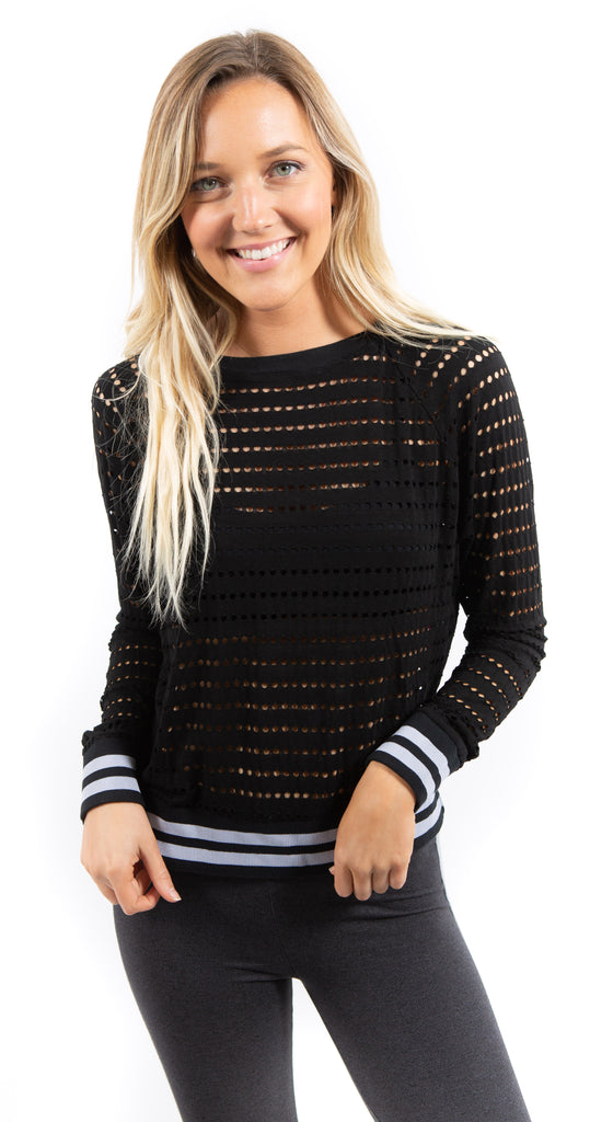 Sporty Mesh Pullover Black