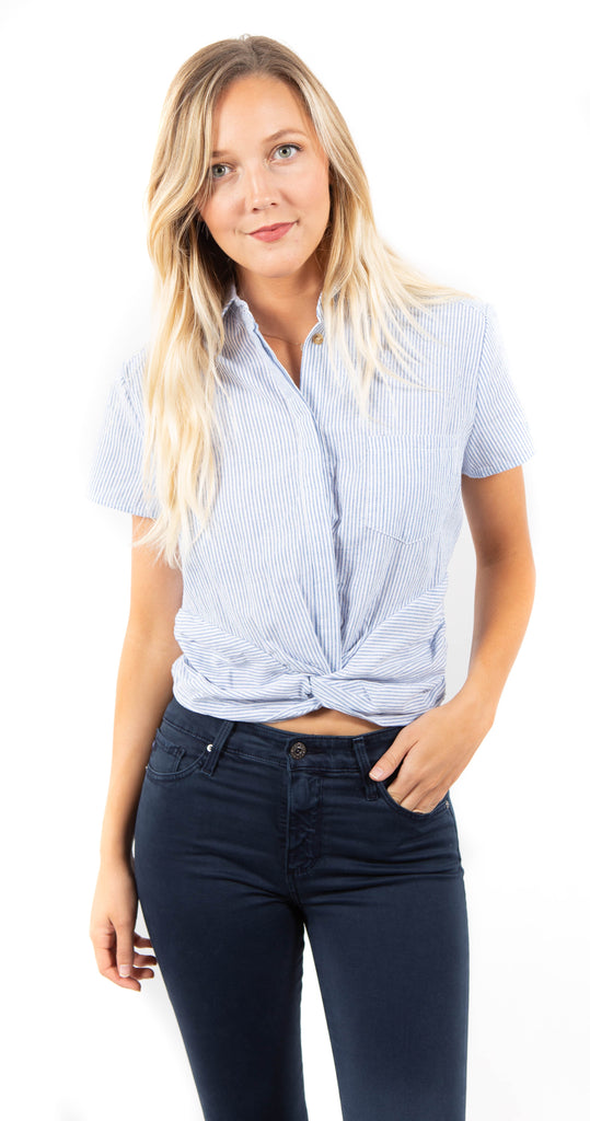 Twist Front Top Striped Blue White