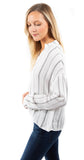 Drop Shoulder Pullover Top Stripe White